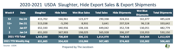 2020-2021 usda slaughter, hide exports sales, and export shipments data